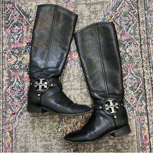 Tory Burch Logo Black Leather Riding Boots